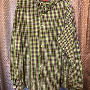 Izod green and purple plaid shirt